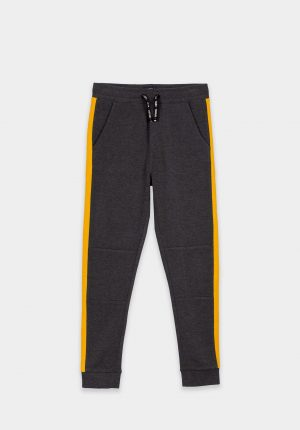 Calças de malha cinza c/ barra amarela para menino da Tiffosi