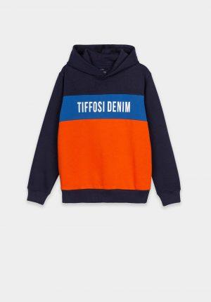 Hoodie azul c/ barra laranja para boy da Tiffosi