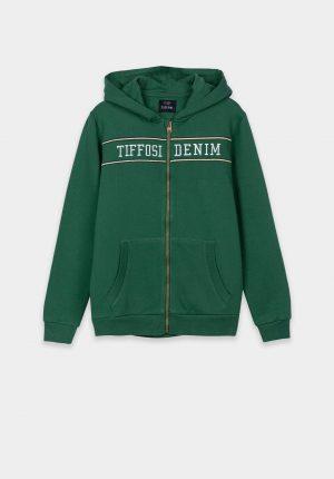 Casaco verde de malha c/ fecho para boy da Tiffosi