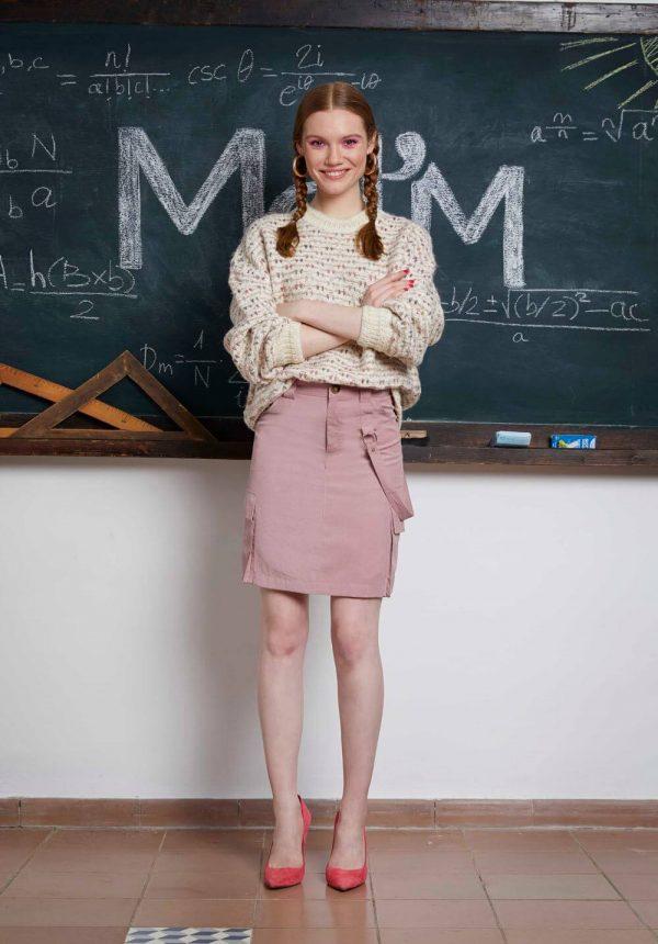 Camisola de malha grossa rosa para mulher da Md`m