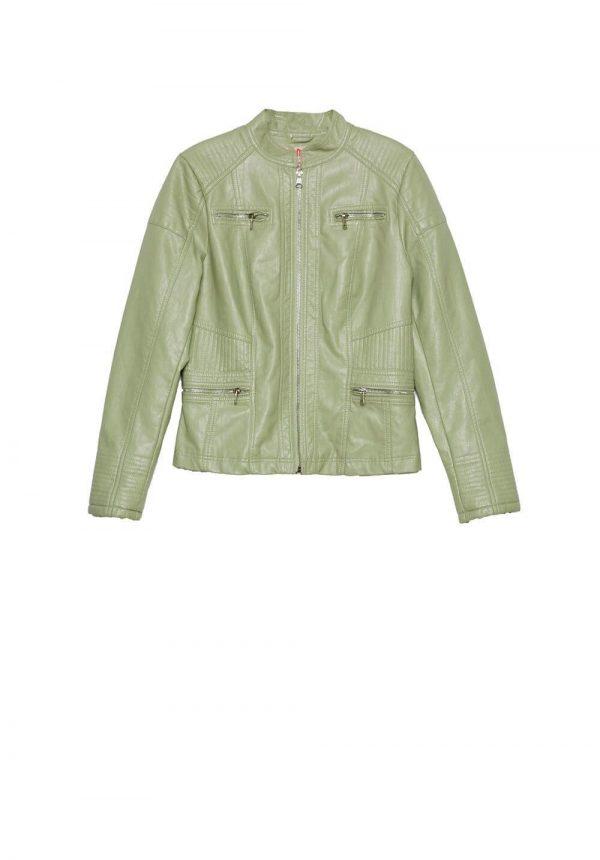 Blusão de napa verde c/ fechos para mulher da Md`m
