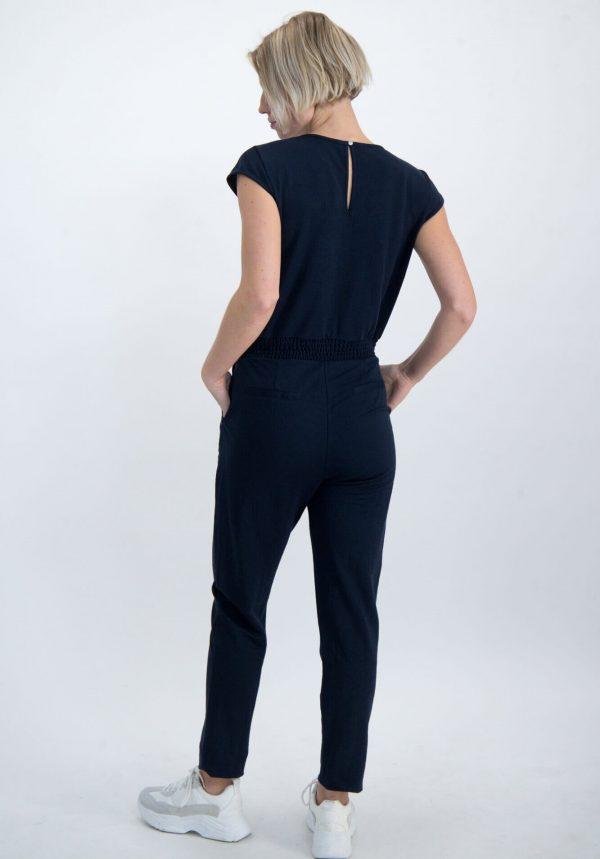Jumpsuit azul marino c/ decote em bico para mulher da Garcia