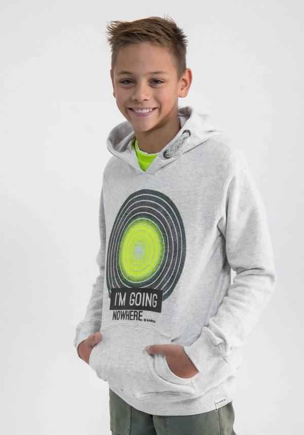 Hoodie cinza c/ estampa verde para menino da Garcia