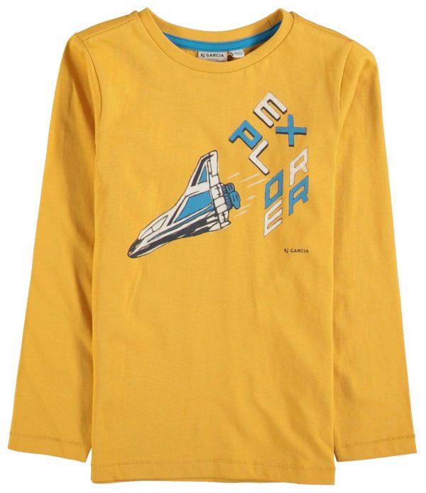 T-shirt amarela c/ foguetão para menino da Garcia