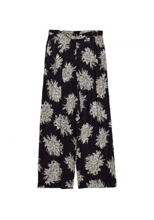 Calça larga preta c/ floral para mulher da Md`m