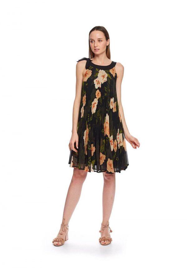 Vestido plissado com flores para mulher da Md´m