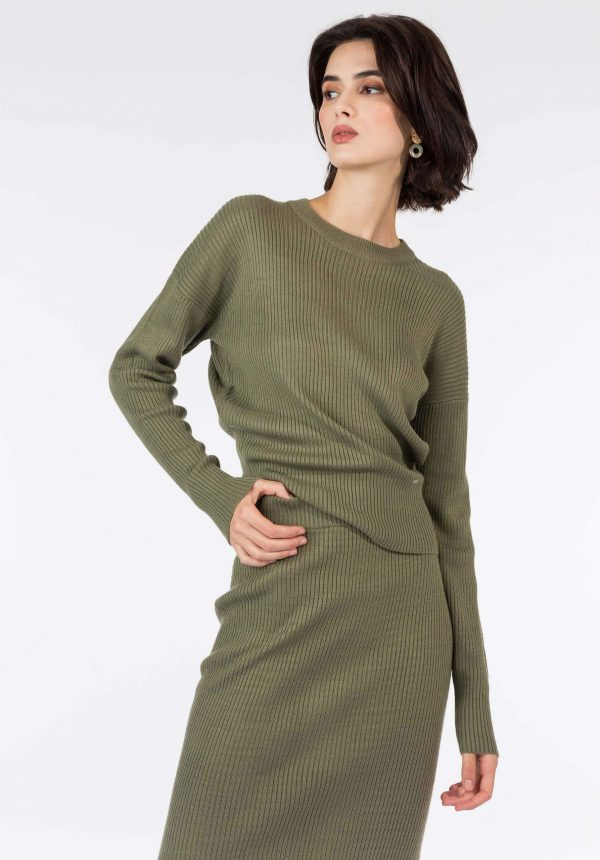 Camisola kaki c/ decote redondo para mulher da Tiffosi