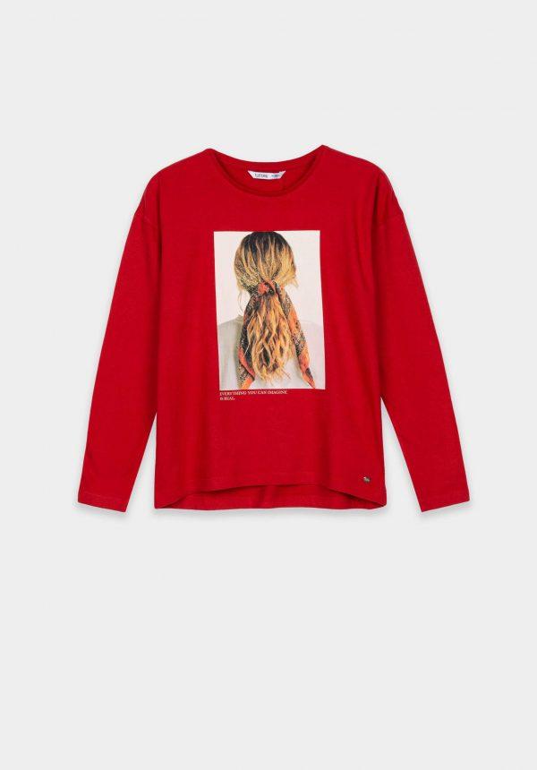 T-shirt vermelha c/ estampa na frente para girl da Tiffosi