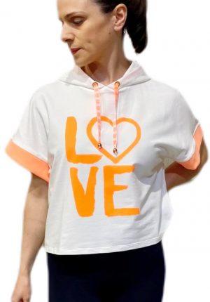 Hoodie love laranja para mulher da Gusi